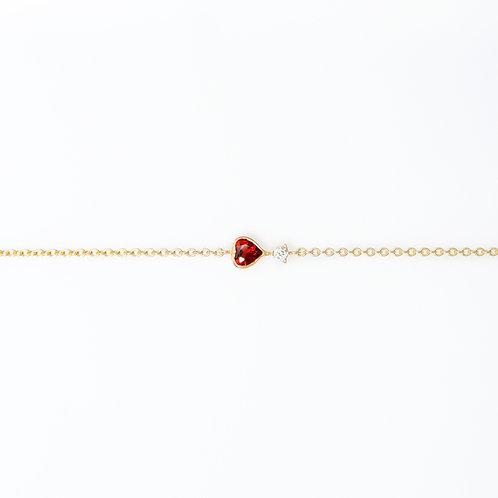 Pulsera Corazón Granate y Diamante 14K