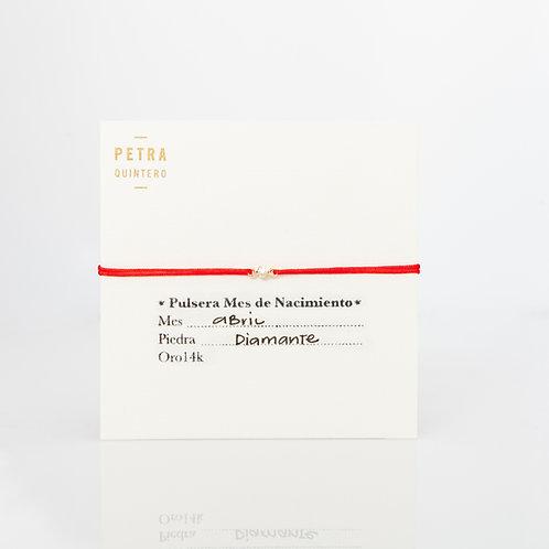 Pulsera Hilo Diamante/Abril 3puntos 14k