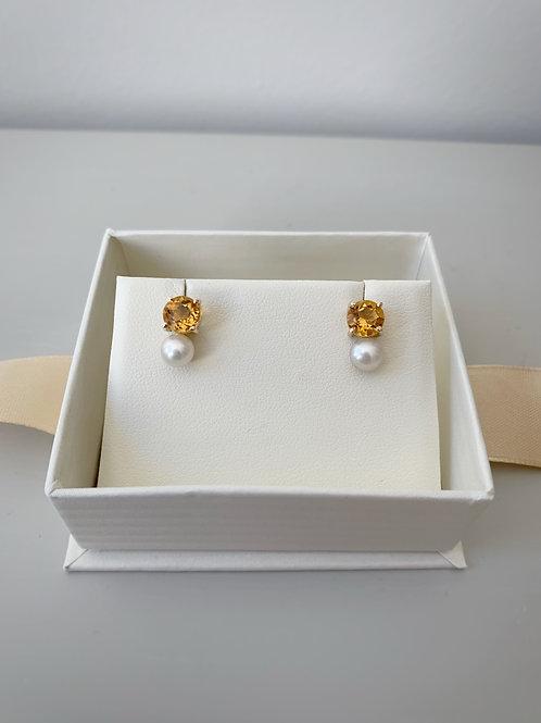 Aretes Citrinos y Perlas 14K