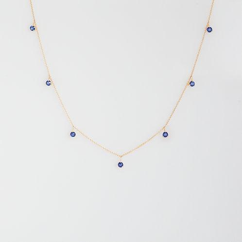 Collar 7 Zafiros Azules 14K