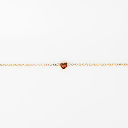 Pulsera Corazón Granate 14K