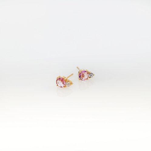 Aretes Zafiro Rosa y Diamantes 14K