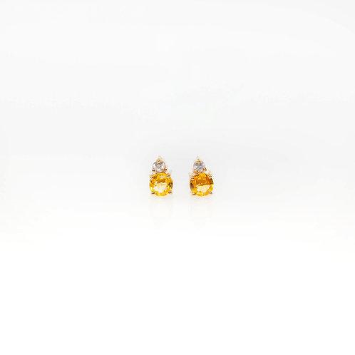 Aretes de Zafiro Amarillo y Diamante 14K