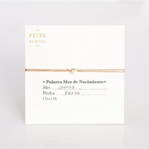 Pulsera Hilo Perla/Junio 14k