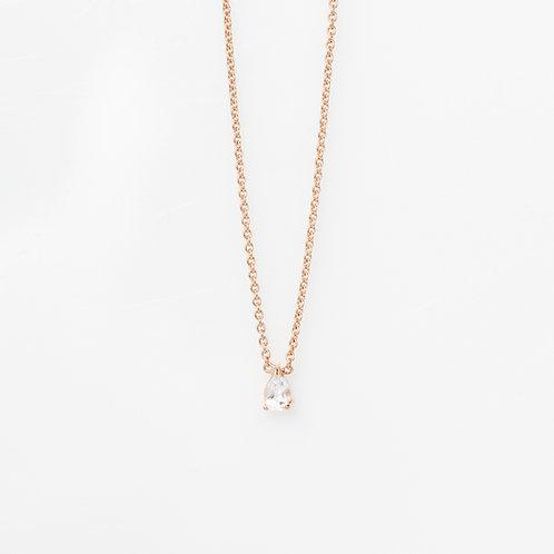 Collar Gota Cuarzo .925 en Rosa