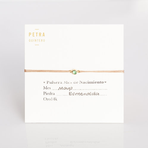 Pulsera Hilo Esmeralda/Mayo 3mm 14k