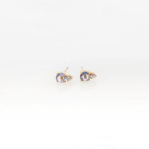 Aretes de Zafiro Azul y Diamantes 14K