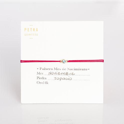 Pulsera Hilo Topacio/Noviembre  3mm 14k