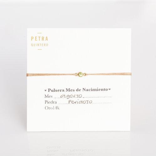 Pulsera Hilo Peridoto/Agosto 3mm 14k
