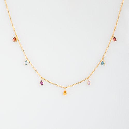 Collar 7 Gotas Arcoíris .925
