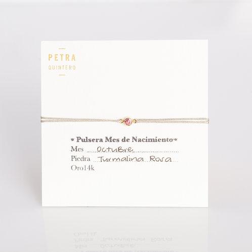 Pulsera Hilo Turmalina/Octubre 3mm 14k