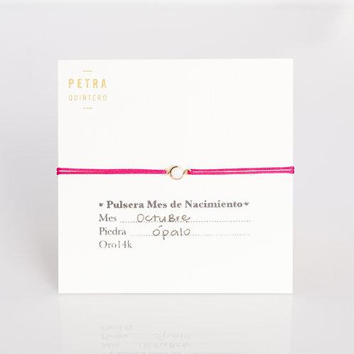 Pulsera Hilo Ópalo/Octubre 14k