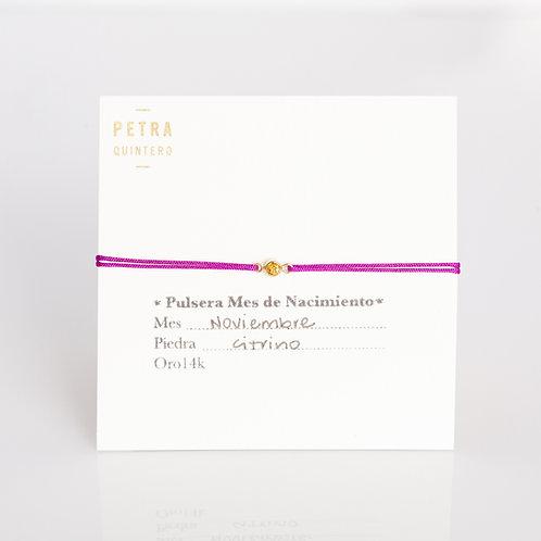 Pulsera Hilo Citrino/Noviembre  3mm 14k