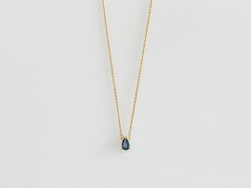 Collar Gota London Blue .925 en Amarillo