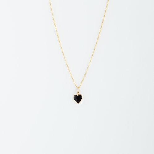 Collar Corazón Ónix 14K