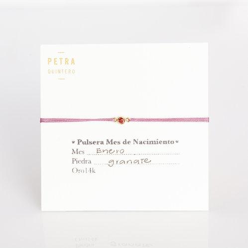 Pulsera Hilo Granate/Enero 3mm 14k