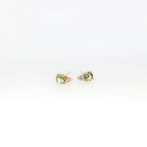 Aretes de Zafiro Verde y Diamante 14K