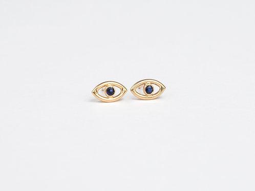 Aretes Ojos de Zafiro 14K