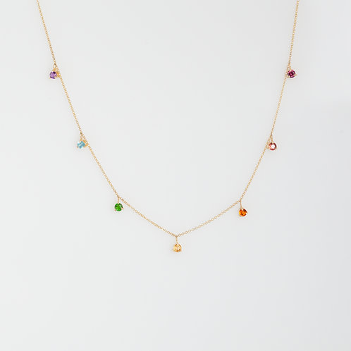Collar 7 Piedras Arcoíris 14k