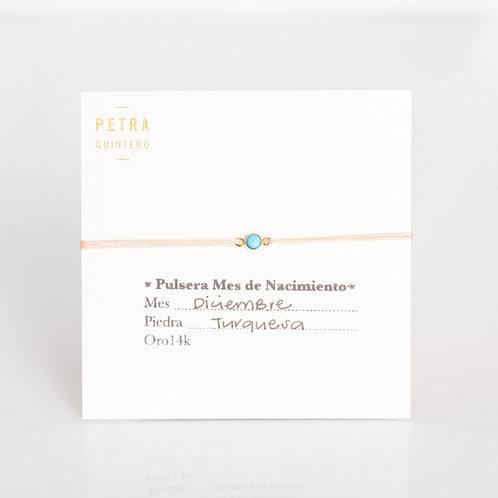 Pulsera Hilo Turquesa/Diciembre 3mm 14k