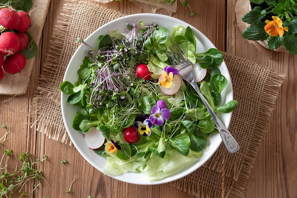 April food in season - edible flowers