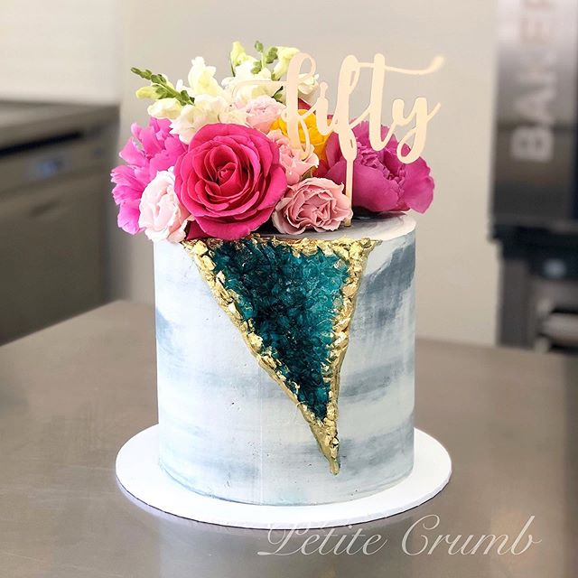 Geode crystal cake filled with red velve