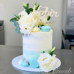 Ombre blue first birthday cake