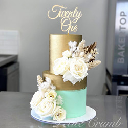 Two tier twenty first cake