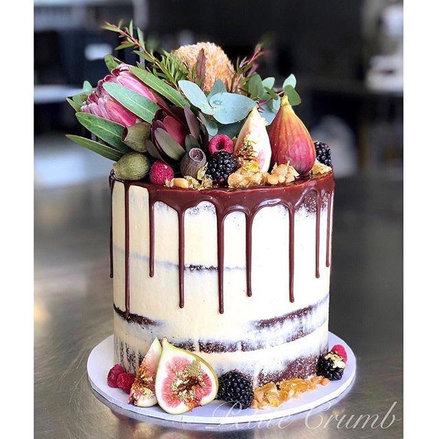 Semi naked chocolate sour cream cake wit