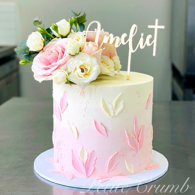 Textured pink christening cake