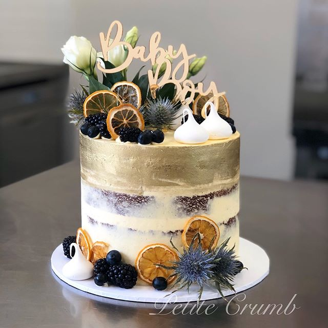 Blackberry sour cream cake layered with