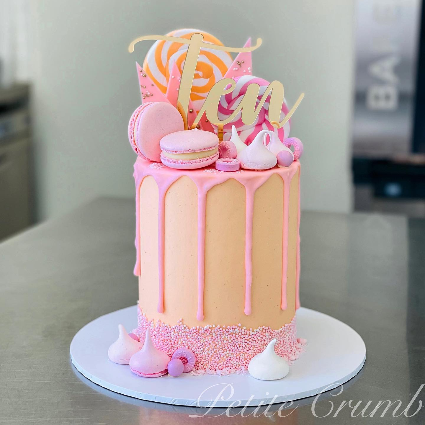 Peach and pink drip cake