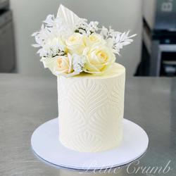 White harvest stencil cake
