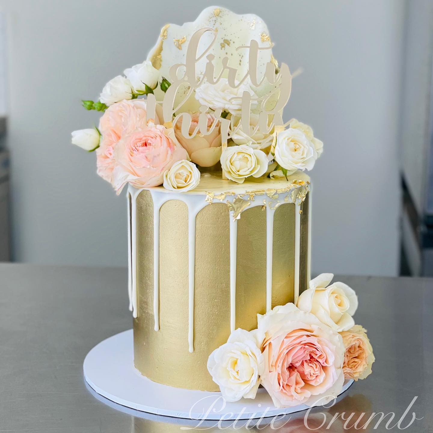 Dirty thirty drip cake