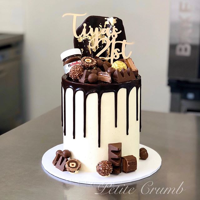 Loaded chocolate drip cake for Tiya's 21