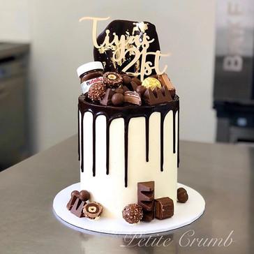 Loaded chocolate drip cake for Tiya's 21