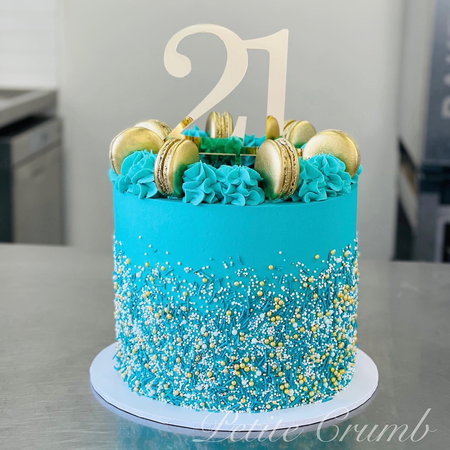 Turquoise sprinkle cake