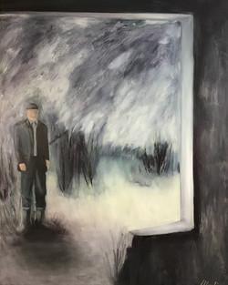 Besuch im Sanatorium, 140cm x 110cm, Acryl auf Leinwand, 2019