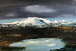 Gletschersee, 100cm x 150cm,Acryl auf Leinwand, 2021