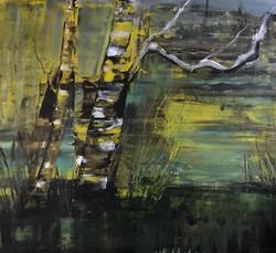 Moorbirken, 130cm x 140cm, Acryl auf Leinwand, 2018