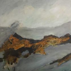 Sierra Nevada I, 90cm x 90cm, Acryl Rost auf Leinwand, 2018