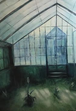 Glashaus, 170cm x 120cm, Acryl auf Leinwand, 2020