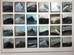 Bergimpressionen, je 20cm x 20cm, Acryl auf Leinwand