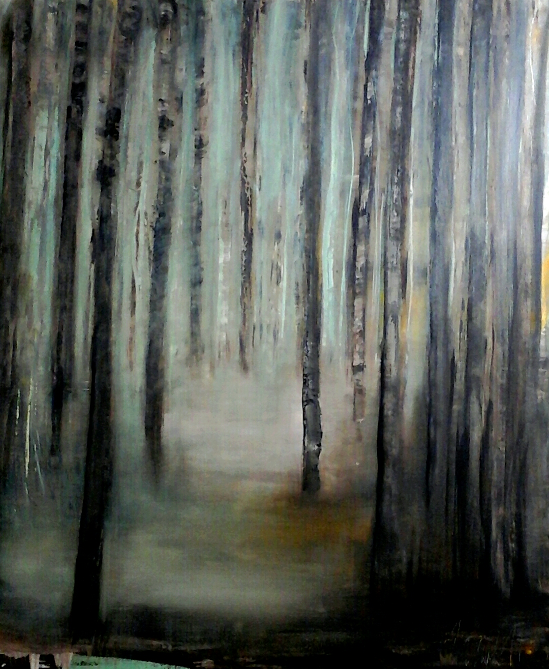 Wald 120 x 100 cm Acryl auf Leinwand