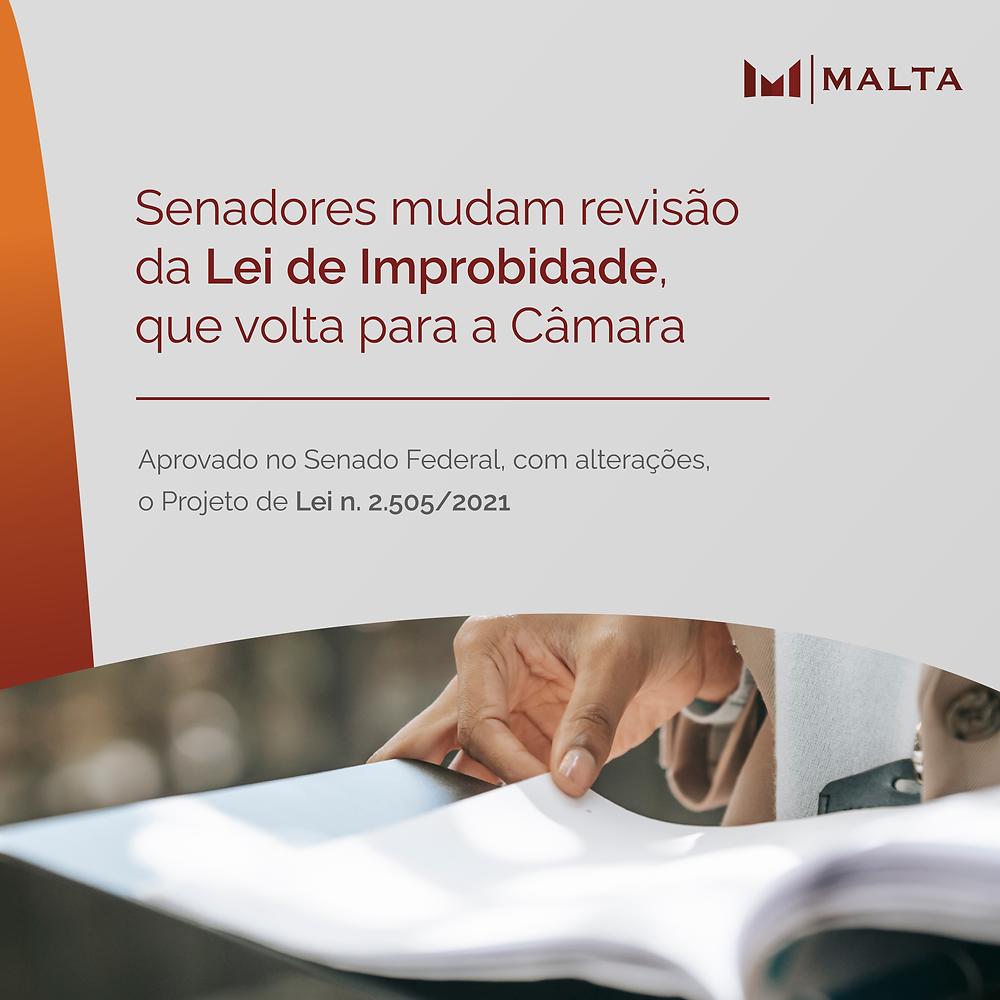 Senadores mudam revisão da Lei de Improbidade, que volta para a Câmara