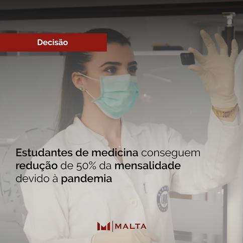 Estudantes de medicina conseguem redução de 50% da mensalidade devido à pandemia