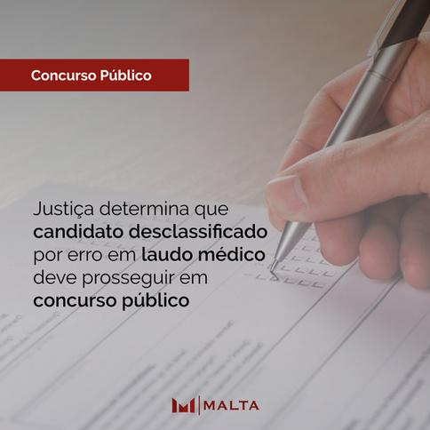 Justiça determina que candidato desclassificado por erro em laudo médico deve prosseguir em concurso