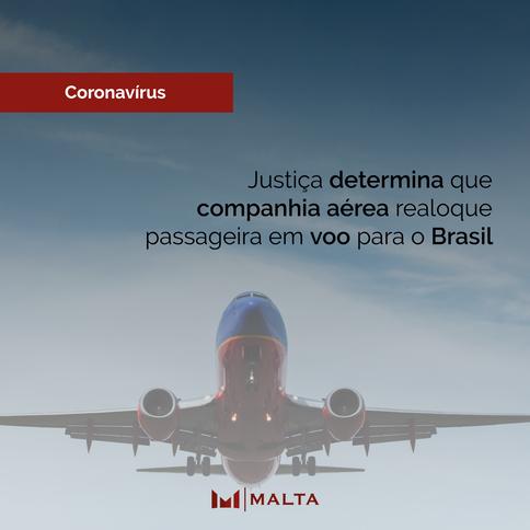 Justiça determina que companhia aérea realoque passageira em voo para o Brasil