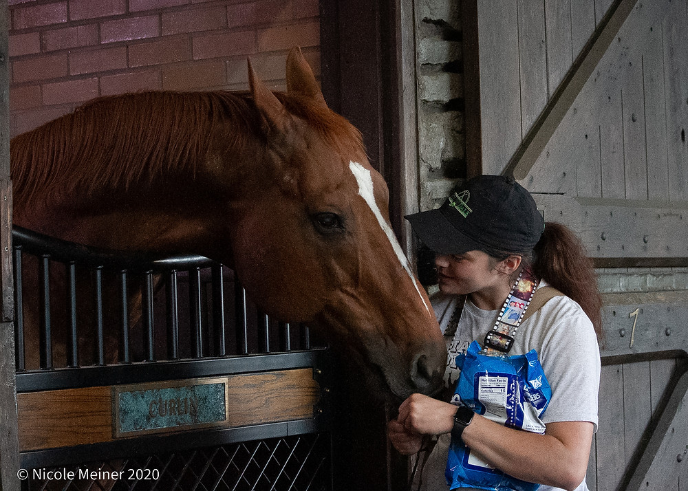 Horse of the Year Curlin and groom Christina Zurick at Xalapa Farm