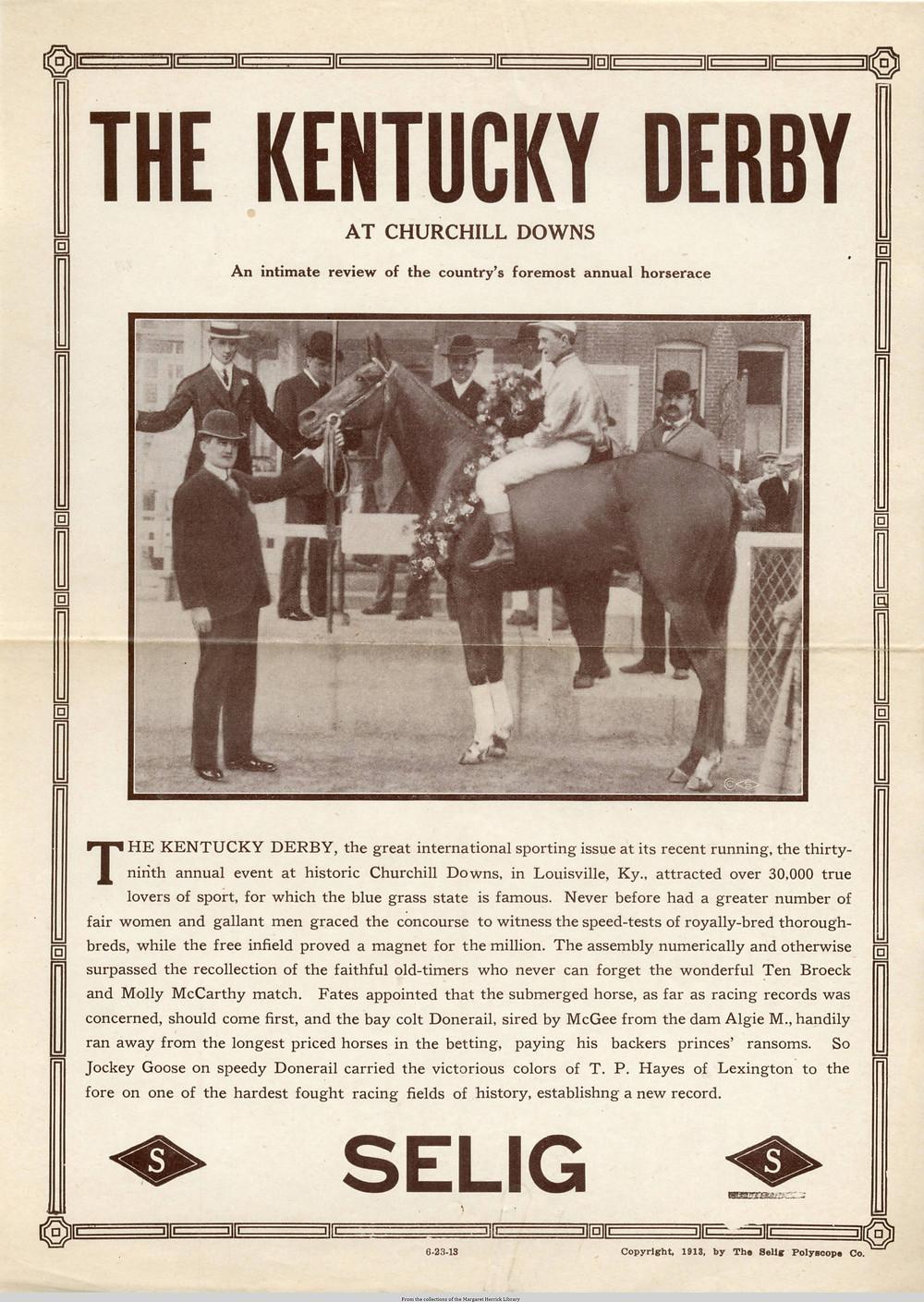 1913 Kentucky Derby winner Donerail, 91-1, Roscoe Goose